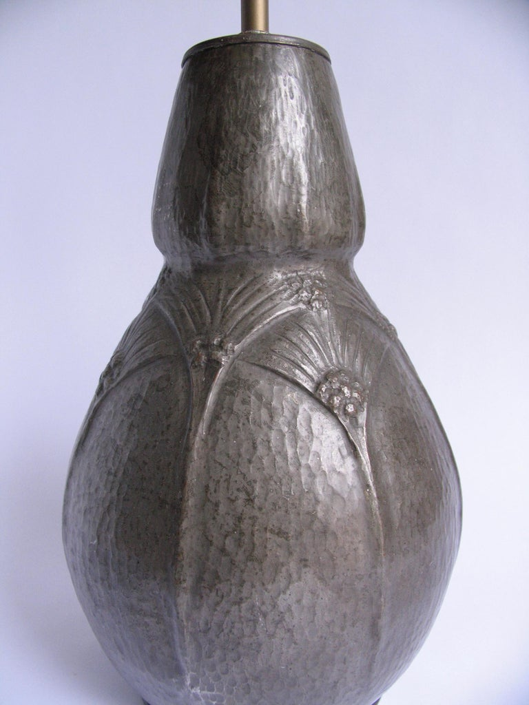 20th Century Belgian Art Nouveau Hammered Pewter Gourd Lamp For Sale