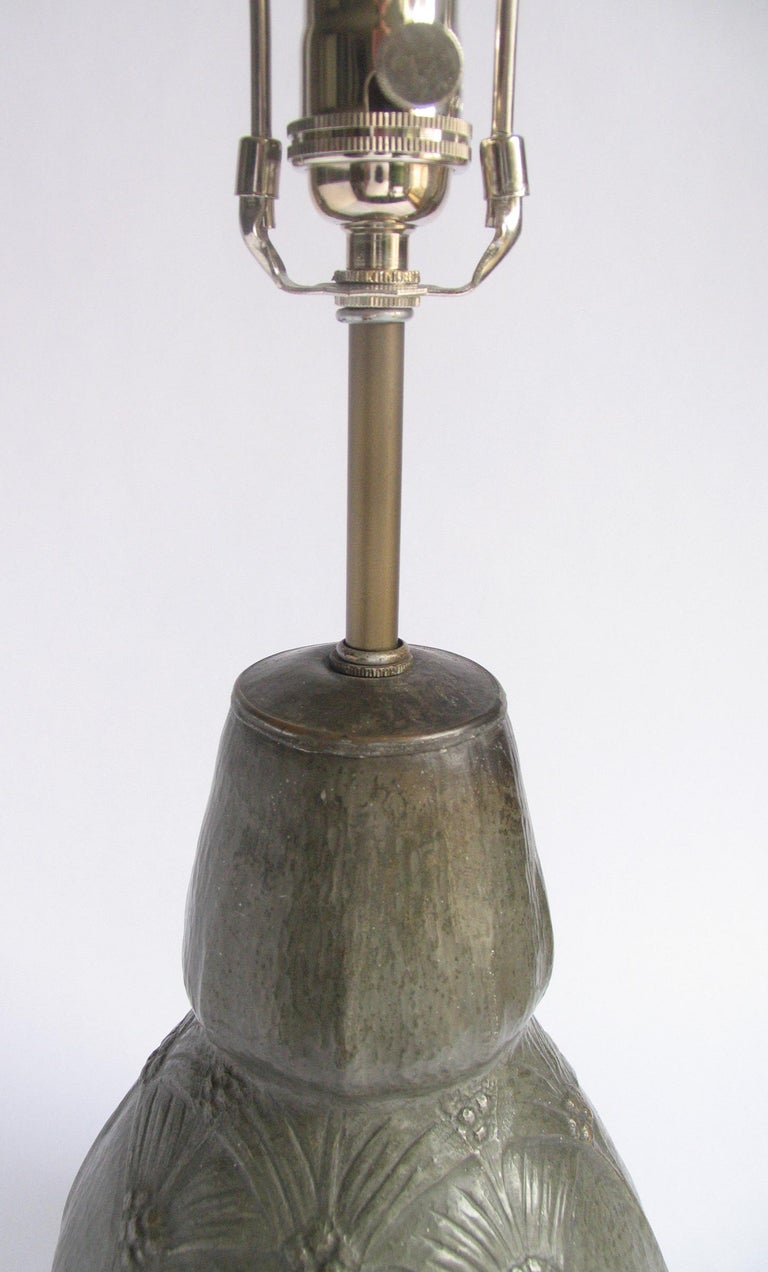 Belgian Art Nouveau Hammered Pewter Gourd Lamp For Sale 1
