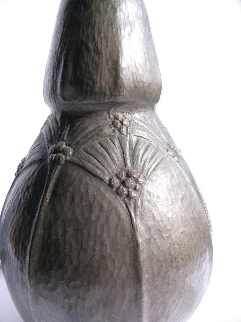 Belgian Art Nouveau Hammered Pewter Gourd Lamp For Sale 3