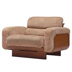 Finnish Basket Lounge Chair by Asko in Teak and Taupe Upholstery