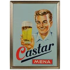 Belgian Beer Sign Castar, 1950s, Belgium