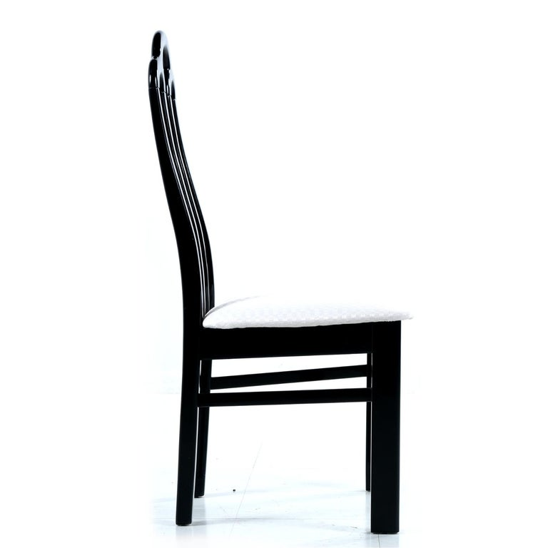 Belgian Black Marble Dining Table & Asian Modern Black Lacquer Dining Chairs Set For Sale 3