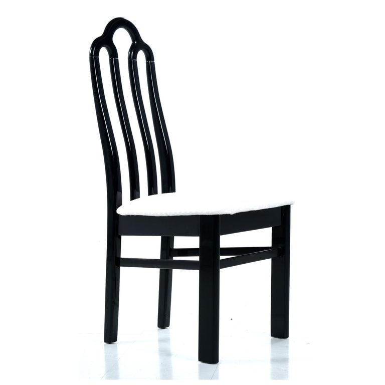 Belgian Black Marble Dining Table & Asian Modern Black Lacquer Dining Chairs Set For Sale 5