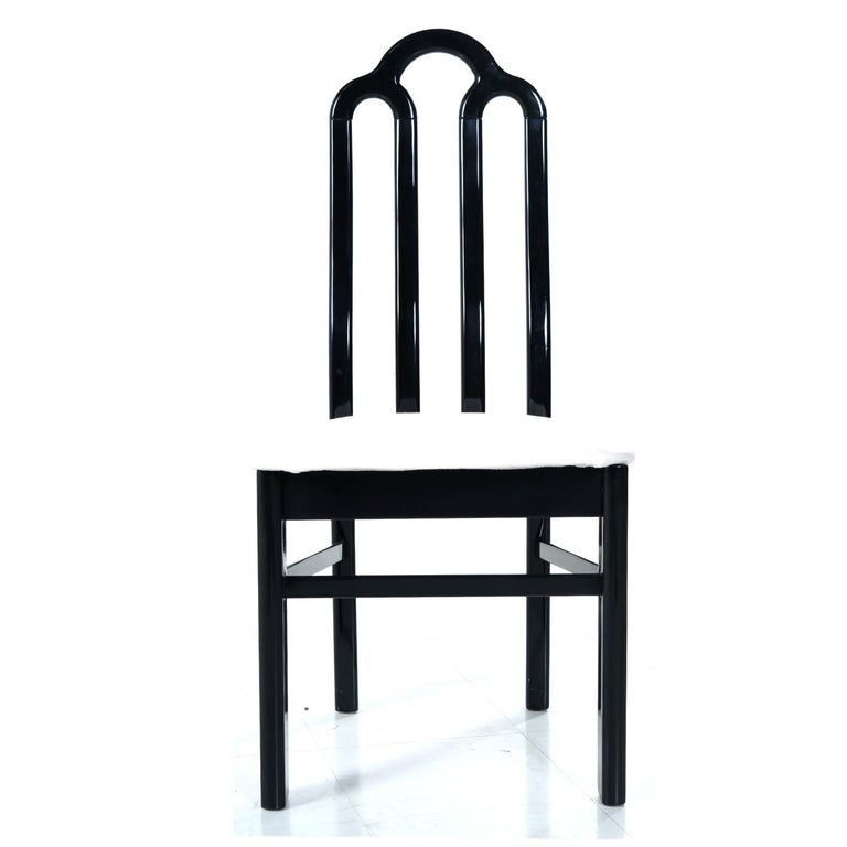 Belgian Black Marble Dining Table & Asian Modern Black Lacquer Dining Chairs Set For Sale 6