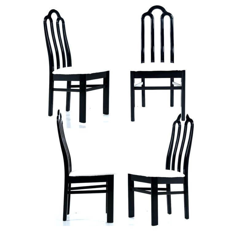 Chinoiserie Belgian Black Marble Dining Table & Asian Modern Black Lacquer Dining Chairs Set For Sale
