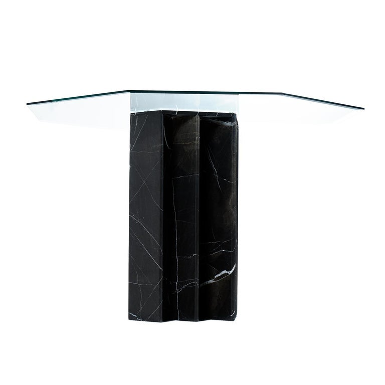 American Belgian Black Marble Dining Table & Asian Modern Black Lacquer Dining Chairs Set For Sale