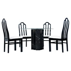 Belgian Black Marble Dining Table & Asian Modern Black Lacquer Dining Chairs Set
