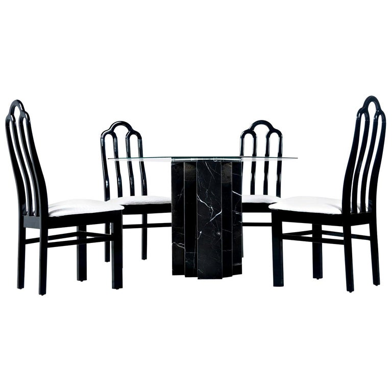 Belgian Black Marble Dining Table & Asian Modern Black Lacquer Dining Chairs Set For Sale