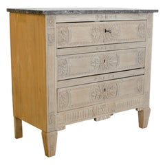 Belgian Bleached Oak and Marble Chest of Drawers