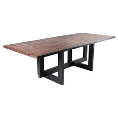 Belgian Brick Baking Pallet Dining Table, with a Patinated Geometric Ebony Base