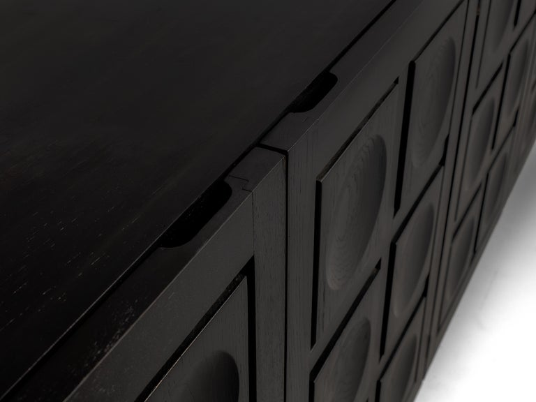 Metal Belgian Brutalist Sideboard in Black Lacquered Wood with Graphical Doors For Sale