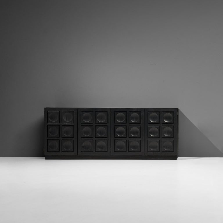 Belgian Brutalist Sideboard in Black Lacquered Wood with Graphical Doors For Sale 1