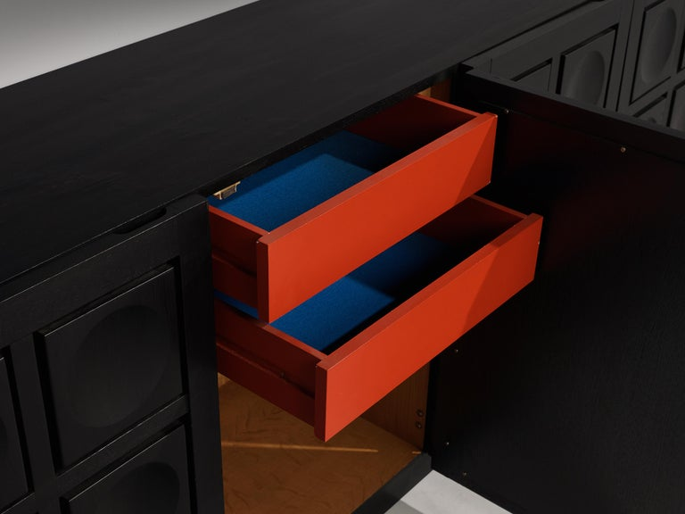 Belgian Brutalist Sideboard in Black Lacquered Wood with Graphical Doors For Sale 2