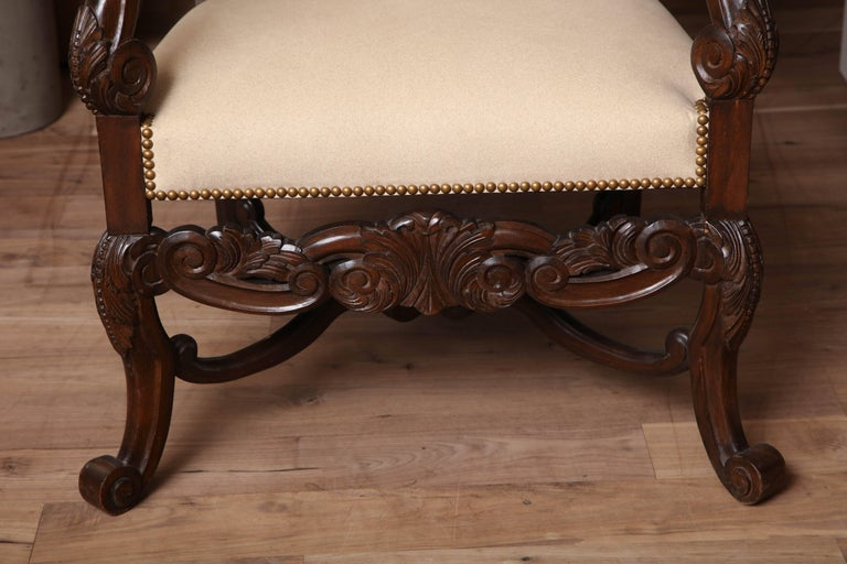Belgian Carved Armchair In Good Condition For Sale In New York, NY