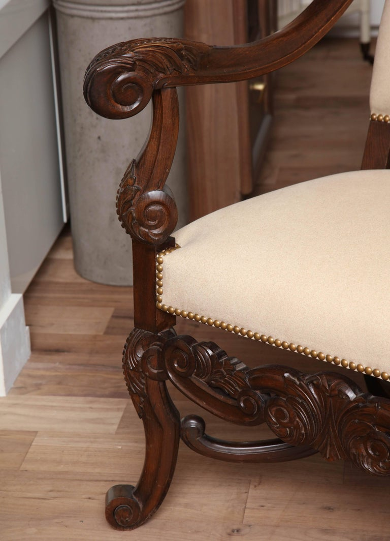 19th Century Belgian Carved Armchair For Sale