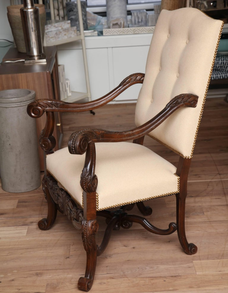 Wood Belgian Carved Armchair For Sale