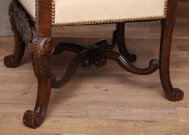 Belgian Carved Armchair For Sale 2