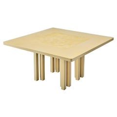 Belgian Center or Dining Table with Beautiful Inlay and Architectural Base