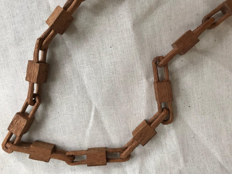 Hand-Carved Belgian Folk Art Carved Wood Chain and Lock, circa 1940 For Sale
