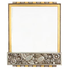 Belgian Gilt and Silver Leaf Wood, Art Deco Mirror with a Richly Detailed Frieze
