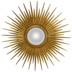 Belgian Gilt Starburst or Sunburst Convex Mirror