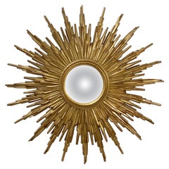 Belgian Gilt Sunburst or Starburst Convex Mirror (Diameter 31 1/2)