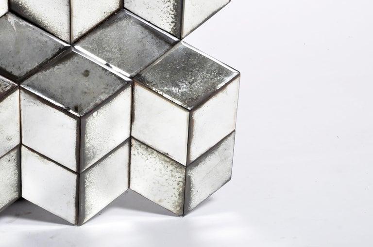 Belgian Glass Cube Brutalist Art Panel by Olivier de Shernee For Sale 6
