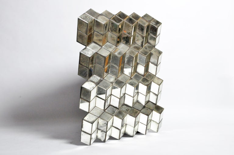 This beautiful glass cube Brutalist art panel is from Belgium and was made from glass by Olivier de Shernee, circa 21st century.