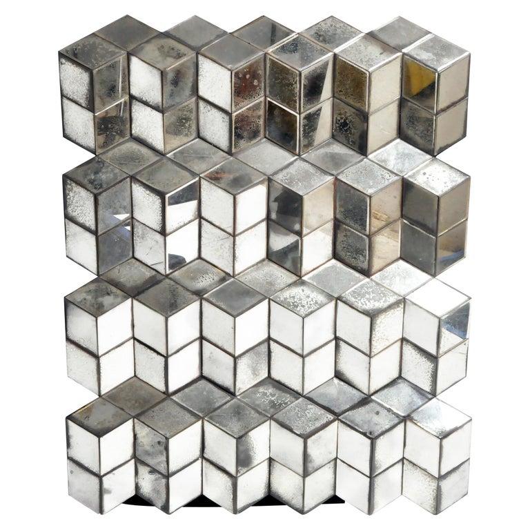 Belgian Glass Cube Brutalist Art Panel by Olivier de Shernee For Sale