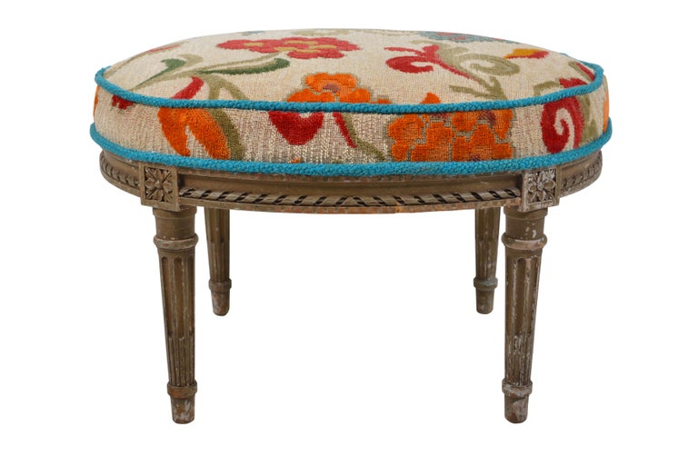 Belgian Louis XVI Patinated Beech Revival Stool, circa 1880 For Sale 1