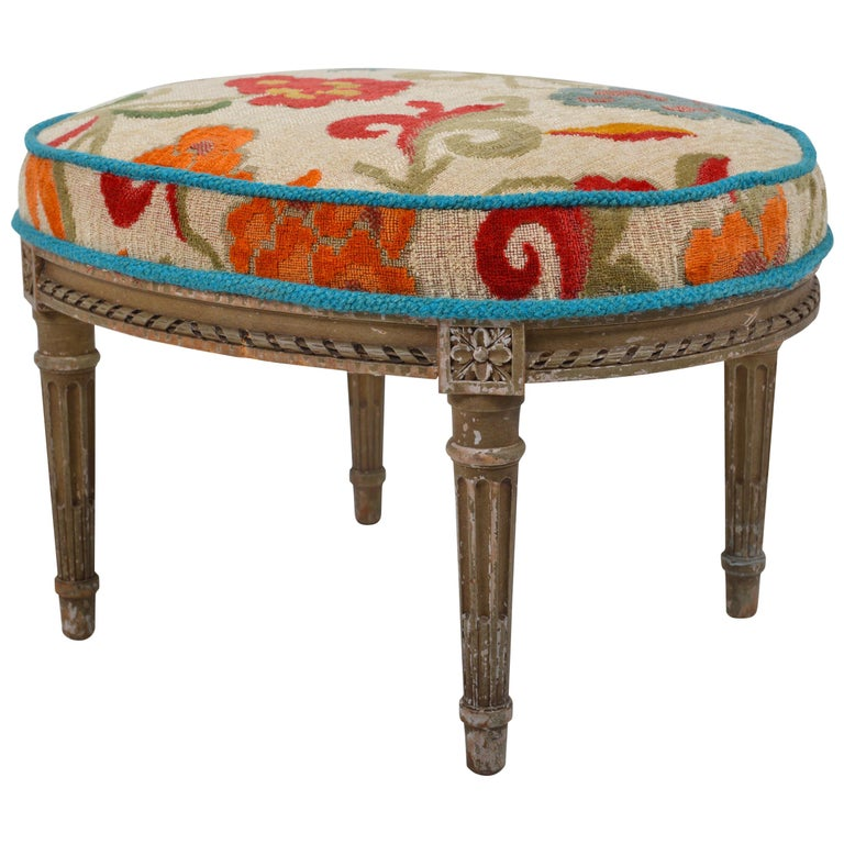 Belgian Louis XVI Patinated Beech Revival Stool, circa 1880 For Sale