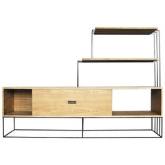 Belgian Midcentury Oak Sideboard with Shelving Rack, 1970s