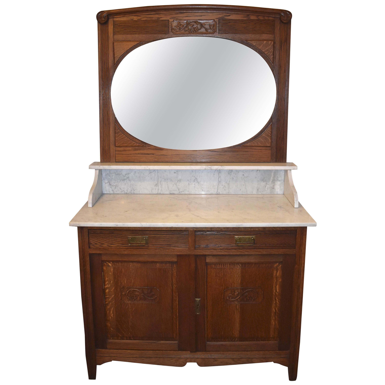 Belgian Oak Dresser with Marble Vanity Top and Mirror, circa 1900