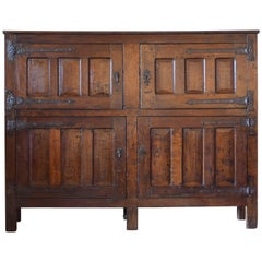 Belgian Oak Iron Mounted Four-Door Cabinet, 17th-18th Century