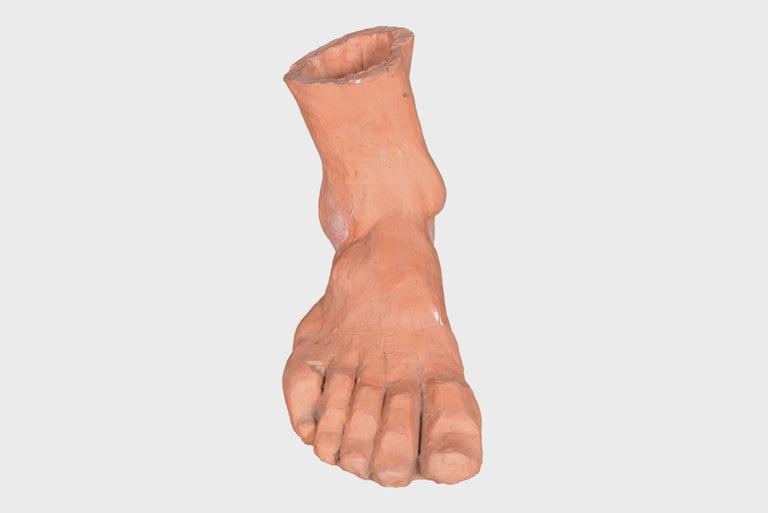 Belgian Oversized Terracotta Foot, circa 1970 For Sale 1