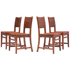 Belgian Set of Four Dining Chairs in Leather and Oak
