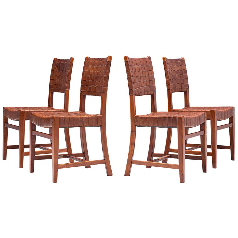 Belgian Set of Four Dining Chairs in Leather and Oak For Sale