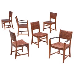 Belgian Set of Six Dining Chairs in Cognac Leather by Frits Schuitema