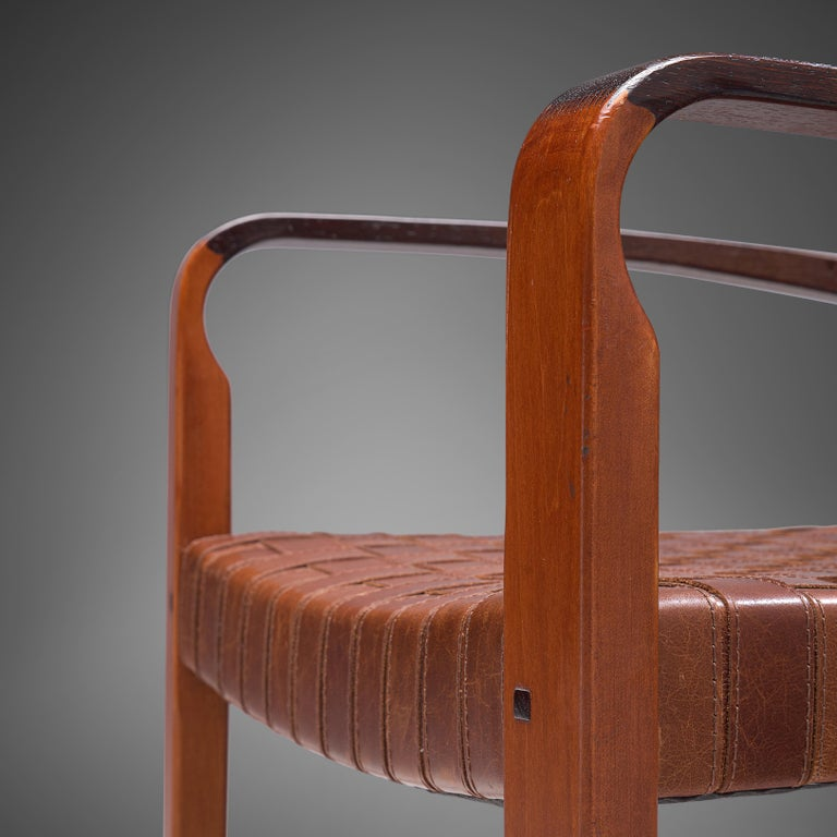 Mid-Century Modern Belgian Set of Two Armchairs Chairs in Leather and Oak For Sale