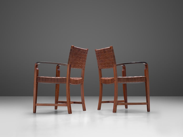 Belgian Set of Two Armchairs Chairs in Leather and Oak In Good Condition For Sale In Waalwijk, NL