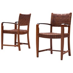 Belgian Set of Two Armchairs Chairs in Leather and Oak