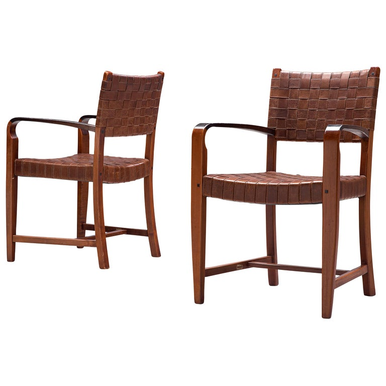 Belgian Set of Two Armchairs Chairs in Leather and Oak For Sale