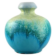 Belgian Studio Ceramicist, Round Vase in Glazed Ceramics, 1960s/70s