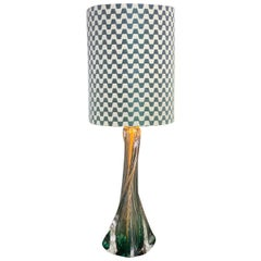 Belgian Table lamp 1950s, green glass with Missoni Home Fabric