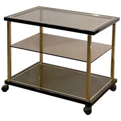 Belgian Three-Tier Drinks Cart of Smoked Glass and Brass by Belgo Chrom