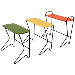Belgium Design, Set of Three Nesting Tables Metal and Lacquered Wood, circa 1950