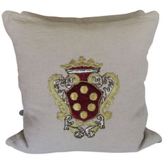 Belgium Linen Pillows with Metallic and Velvet Shield Appliques