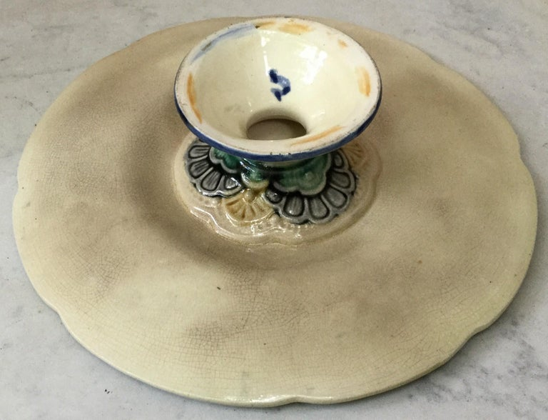 Late 19th Century Belgium Majolica Cake Stand, circa 1890 For Sale