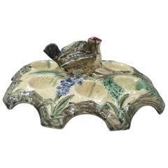Belgium Majolica Egg Plate with Bird, circa 1880
