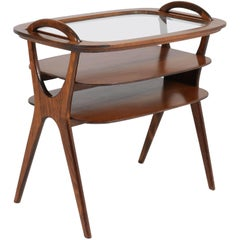 Belgium Mid-Century Modern Beech Serving Table with Tray, 1960s